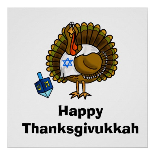 Poster judío feliz de Thanksgivukkah Turquía