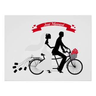 Poster just married with bride and groom