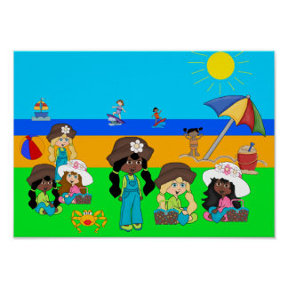 Poster Kid's Collage Girls Beach Picnic