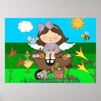Poster Kid's Girl Gardening Flowers