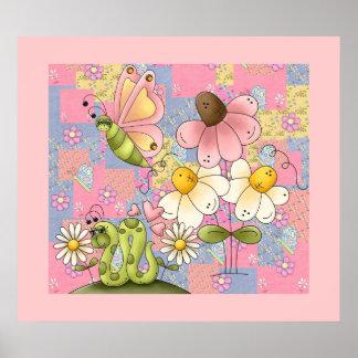 Poster Kids Girl Patch Garden Pink