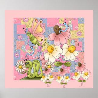 Poster Kids Girl Patch Garden Pink 2