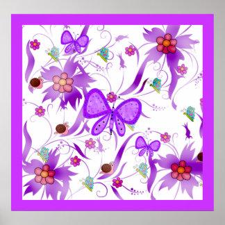 Poster Kids Girls Butterfly Flowers Bugs