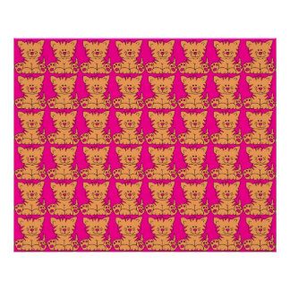 Poster Kid's Kitty Cats Bright Pink Yellow