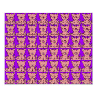 Poster Kid's Kitty Cats Pink Purple
