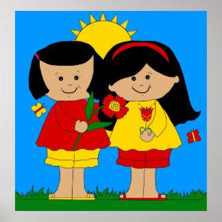 Poster Kid's Two Best Friends Girls Blue