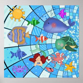 Poster Kids Underwater Sea Life Mermaid Fish
