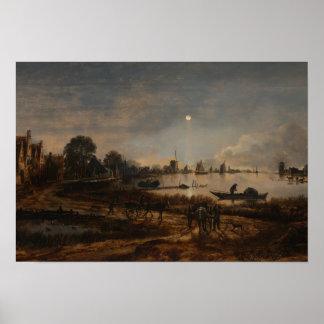 Poster landscape river Van der Neer