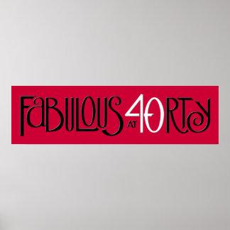Poster largo rojo blanco negro 40 fabulosos