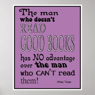 Poster leído de la cita de los libros de Twain bue