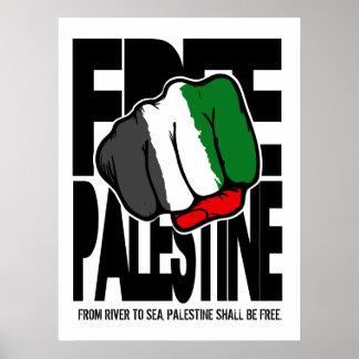 Poster libre de Palestina con el río a la cita del