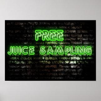 Poster libre verde de neón del muestreo del jugo