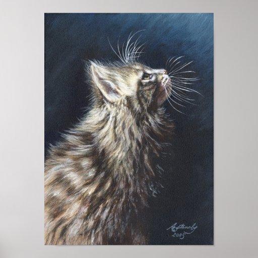 Poster ligero del arte del gato de Coon de Maine d
