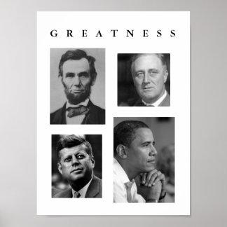 POSTER Lincoln, FDR, JFK, Obama de la GRANDEZA