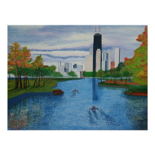"""Poster """"Lincoln Park - Chicago"""" 24""""x18"""""""