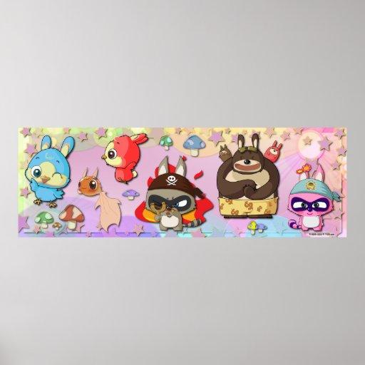 Poster lindo de Kawaii de los caracteres del