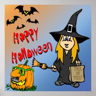 Poster lindo de la bruja de Halloween