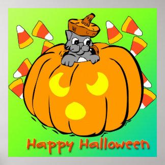 Poster lindo de la calabaza de Halloween del gatit