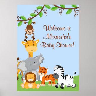 Poster lindo de la ducha del bebé de los animales