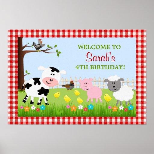 Poster lindo de la fiesta de cumpleaños de los ani