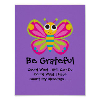 Poster lindo de la gratitud de la mariposa póster