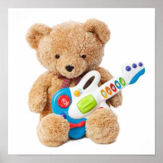 Poster lindo de la guitarra del oso de peluche