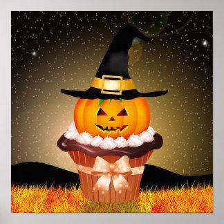 Poster lindo de la magdalena de Halloween