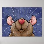Poster lindo de la rata del corazón