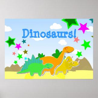 Poster lindo de los amigos de los dinosaurios del