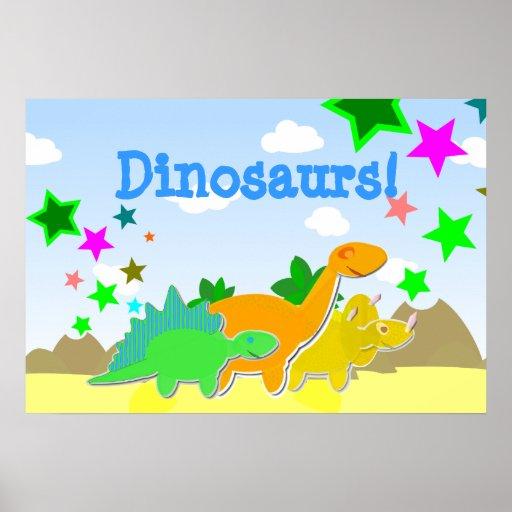 Poster lindo de los amigos de los dinosaurios del  póster