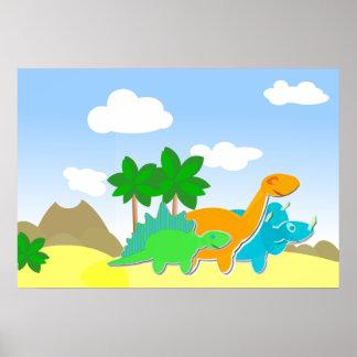 Poster lindo de los amigos del dinosaurio póster