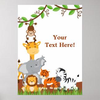Poster lindo de los animales del bebé de la selva