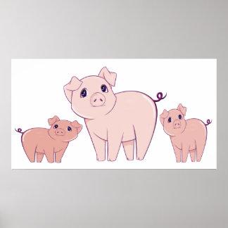 Poster lindo del arte de tres pequeño cerdos