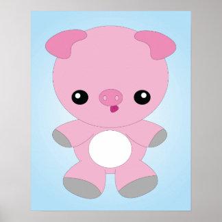 Poster lindo del cerdo del bebé