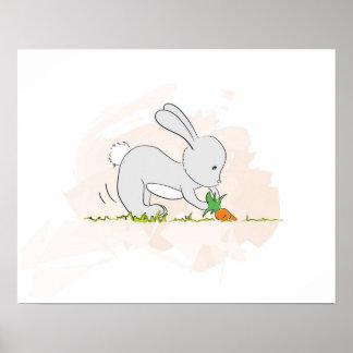 Poster lindo del conejito que tira de la zanahori