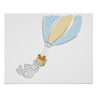 Poster lindo del conejito vuelo para las zanahori