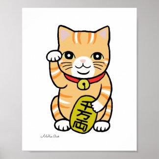 Poster lindo del gato de la buena suerte del gato