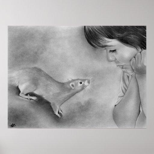 Poster lindo del mascota de la rata del muchacho