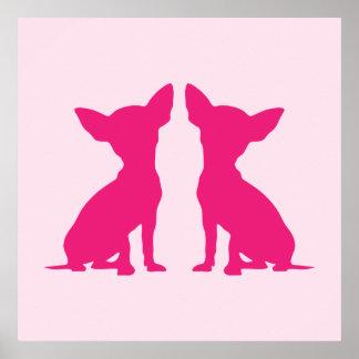 Poster lindo del perro rosado de la chihuahua ide
