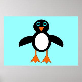 Poster lindo del pingüino póster