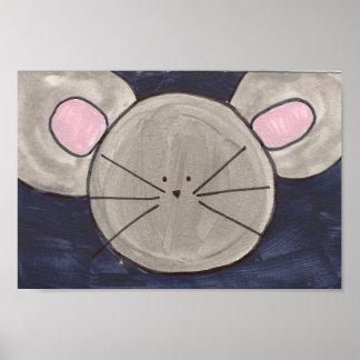 Poster lindo del ratón de la acuarela