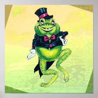 Poster lindo del smoking del verde de la rana del