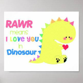 Poster LINDO ESTUPENDO RAWR del dinosaurio pequeño