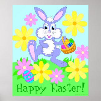 Poster lindo feliz del conejo del conejito de pasc