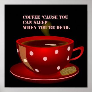 Poster lindo y divertido del café póster