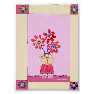 poster little bear with flowers