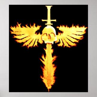 Poster llameante de la espada y del cráneo