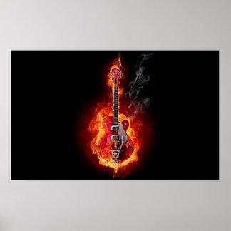Poster llameante de la guitarra