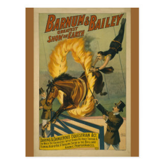 Poster llameante del circo del caballo tarjeta postal