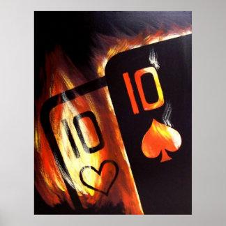Poster llameante del póker de los diez del bolsill
